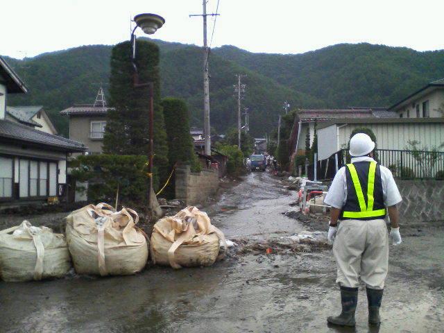 箕輪町の水害現場