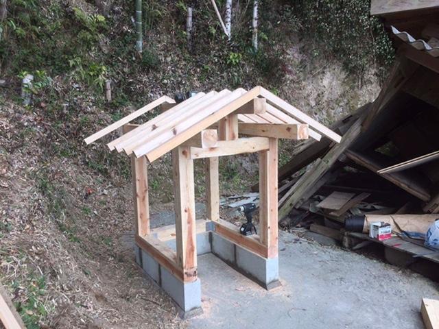 2月26日 地震 益城町支援活動 仮設の観音堂